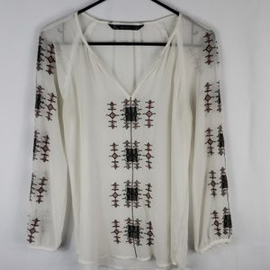 Zara Trafaluc Sheer Tribal Embroidered Blouse
